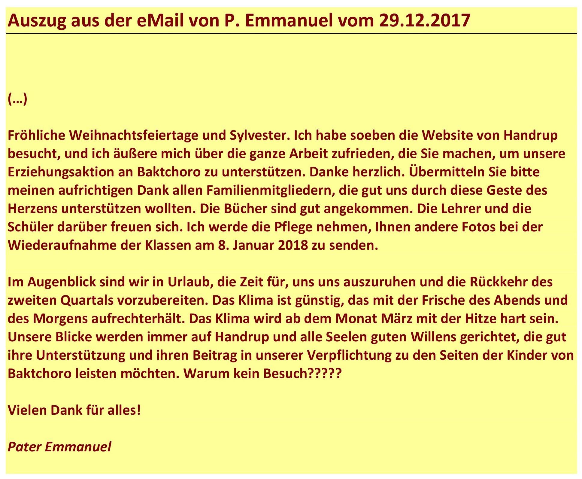 Dankschreiben von P. Emmanuel vom 29.12.2017-1