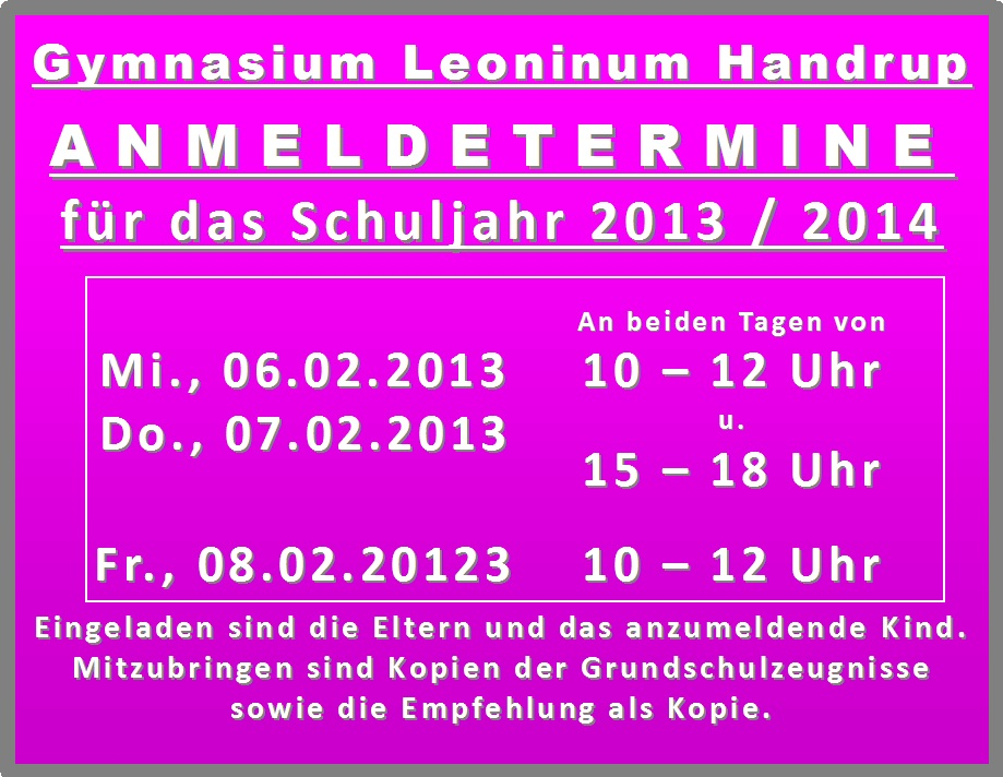 03 Anmeldetermine 2013 Homepage