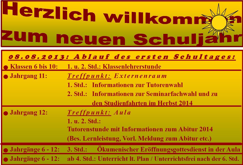 Begrüßung zum Schuljahresbeginn 2013