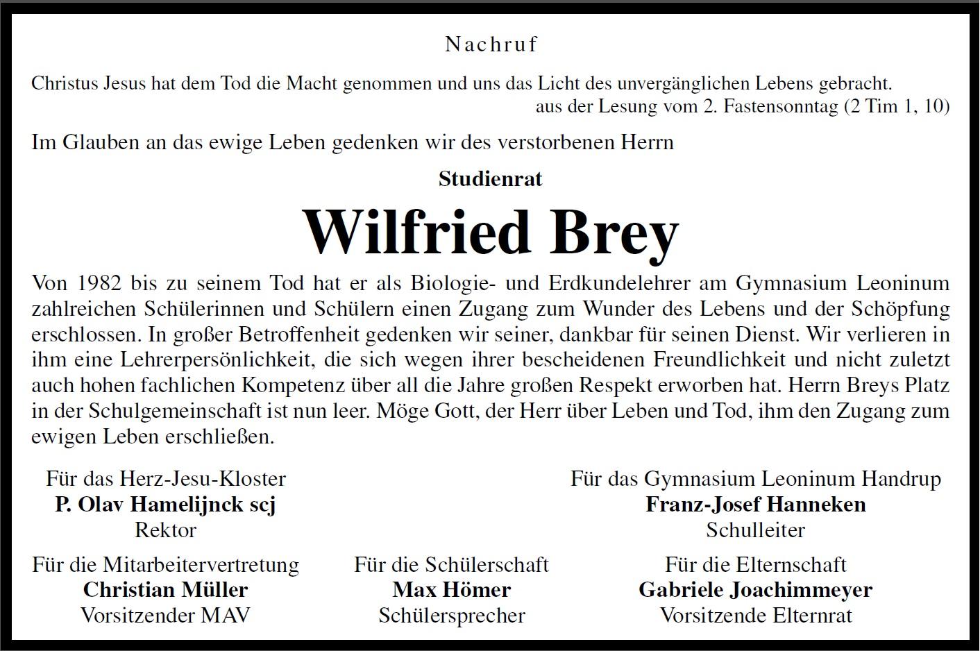 66 Nachruf Wilfried Brey