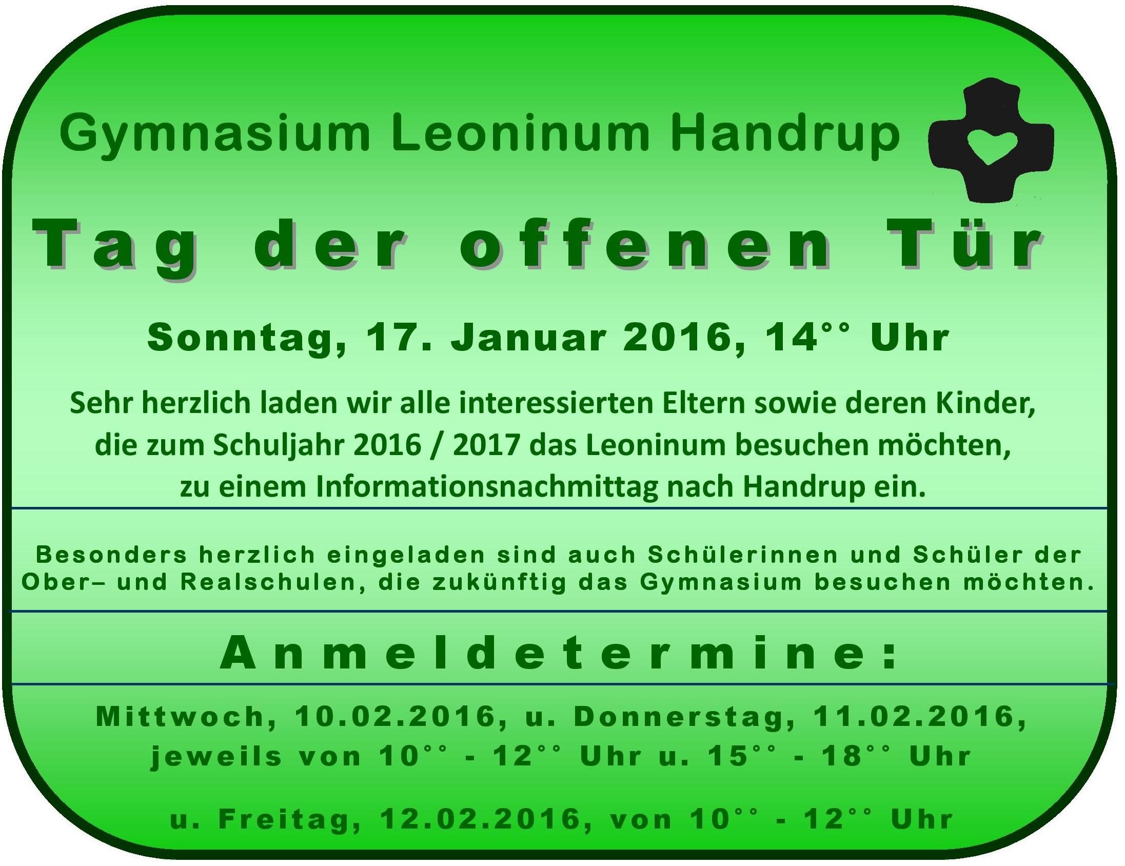 Wann ist tag der offenen tür  Tag der offenen Tür | Gymnasium Leoninum Handrup