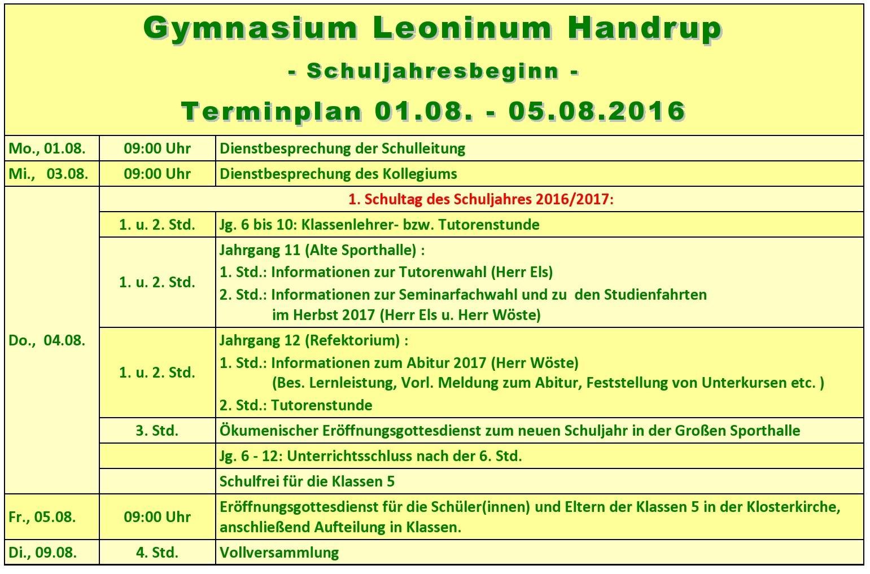 Erster Schultag 2016-2017